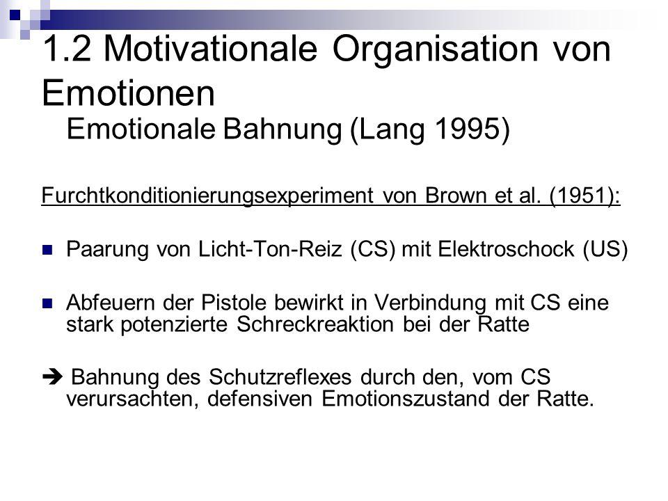 1.2 Motivationale Organisation von Emotionen Emotionale Bahnung (Lang 1995) Furchtkonditionierungsexperiment von Brown et al.