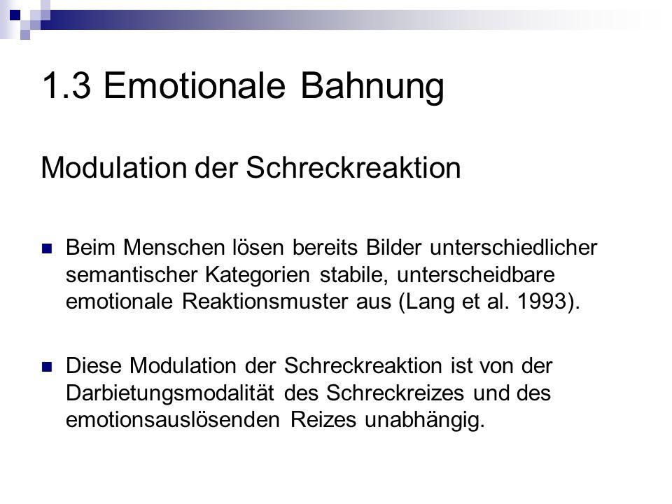 1.3 Emotionale Bahnung Modulation der Schreckreaktion Beim Menschen lösen bereits Bilder unterschiedlicher semantischer Kategorien stabile, unterscheidbare emotionale Reaktionsmuster aus (Lang et al.