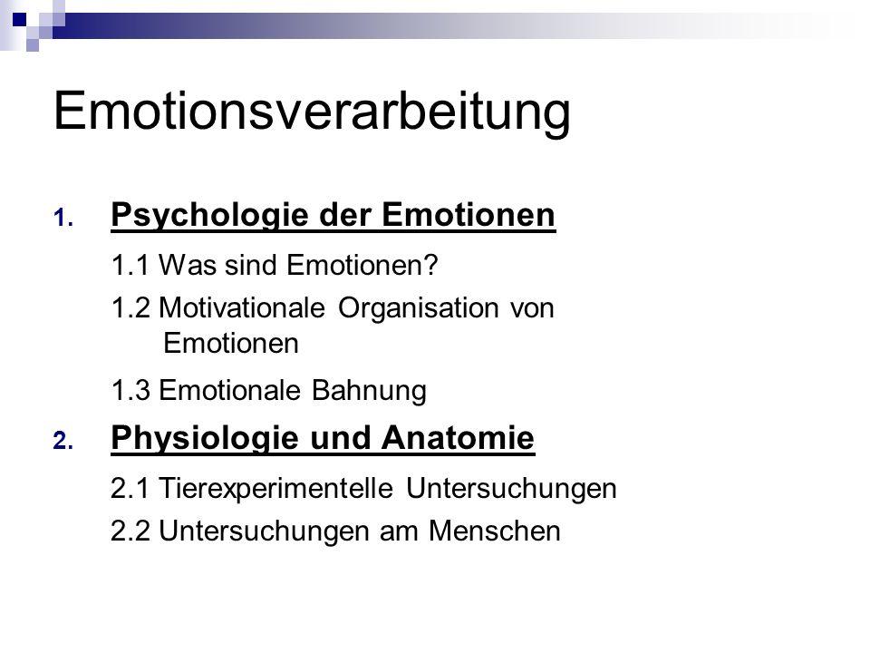 Emotionsverarbeitung 1.Psychologie der Emotionen 1.1 Was sind Emotionen.