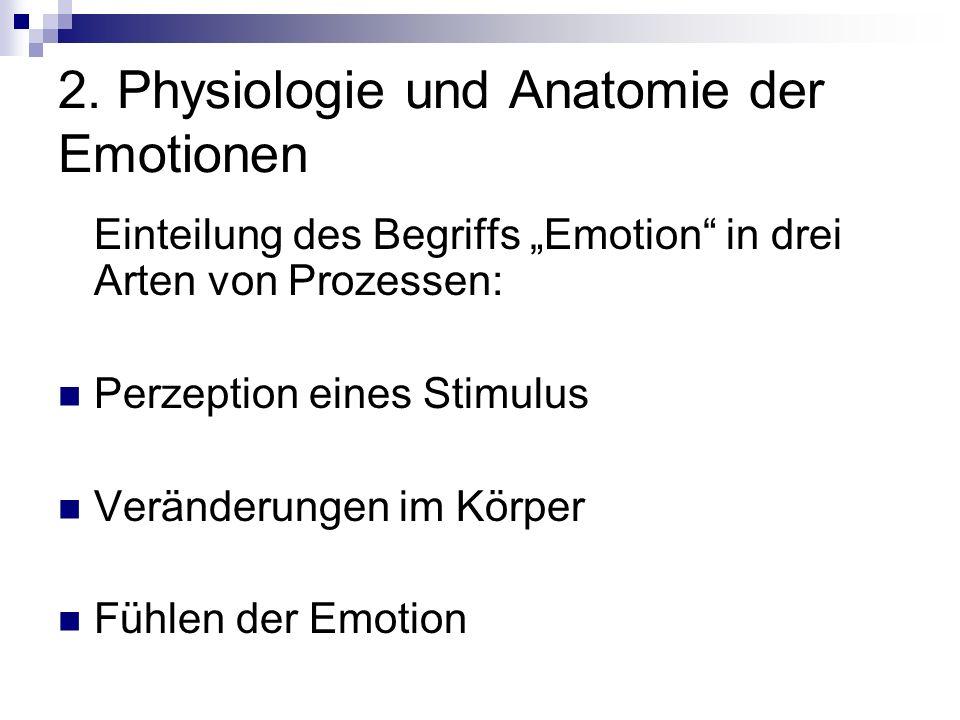 Einteilung des Begriffs Emotion in drei Arten von Prozessen: Perzeption eines Stimulus Veränderungen im Körper Fühlen der Emotion