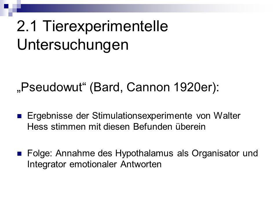 2.1 Tierexperimentelle Untersuchungen Pseudowut (Bard, Cannon 1920er): Ergebnisse der Stimulationsexperimente von Walter Hess stimmen mit diesen Befunden überein Folge: Annahme des Hypothalamus als Organisator und Integrator emotionaler Antworten