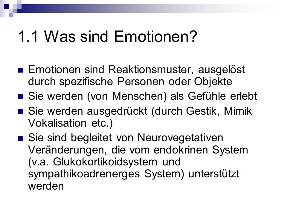 1.1 Was sind Emotionen.