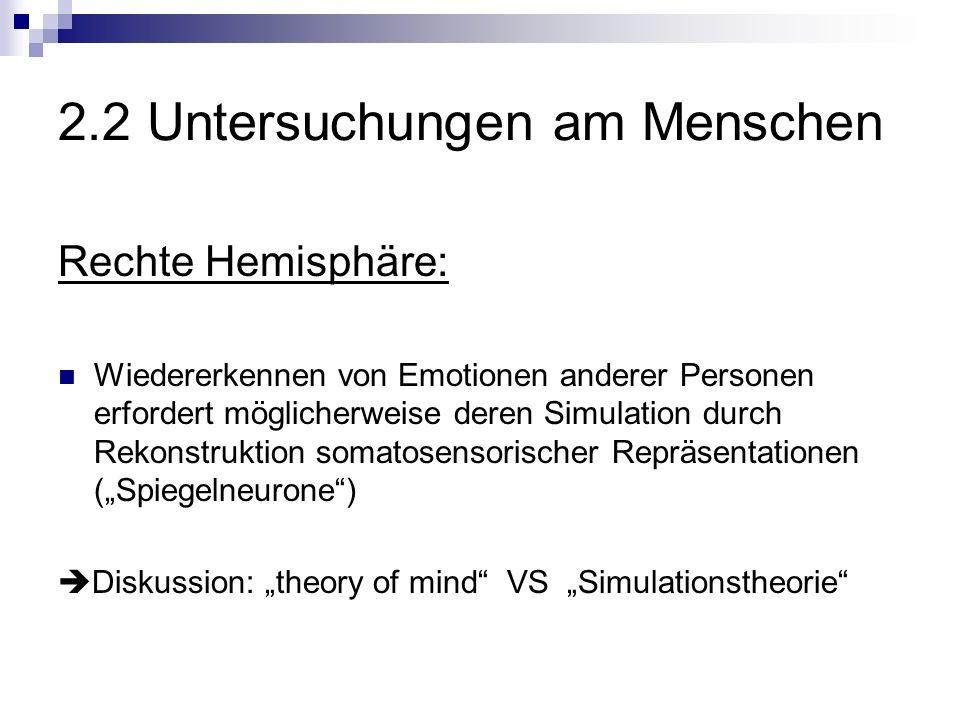 2.2 Untersuchungen am Menschen Rechte Hemisphäre: Wiedererkennen von Emotionen anderer Personen erfordert möglicherweise deren Simulation durch Rekonstruktion somatosensorischer Repräsentationen (Spiegelneurone) Diskussion: theory of mind VS Simulationstheorie