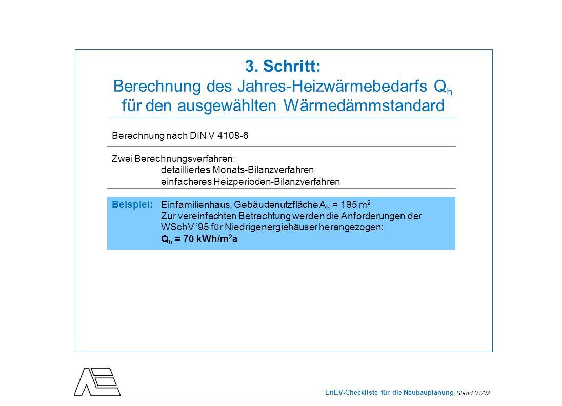Stand 01/02 EnEV-Checkliste für die Neubauplanung Berechnung nach DIN V 4108-6 Zwei Berechnungsverfahren: detailliertes Monats-Bilanzverfahren einfach