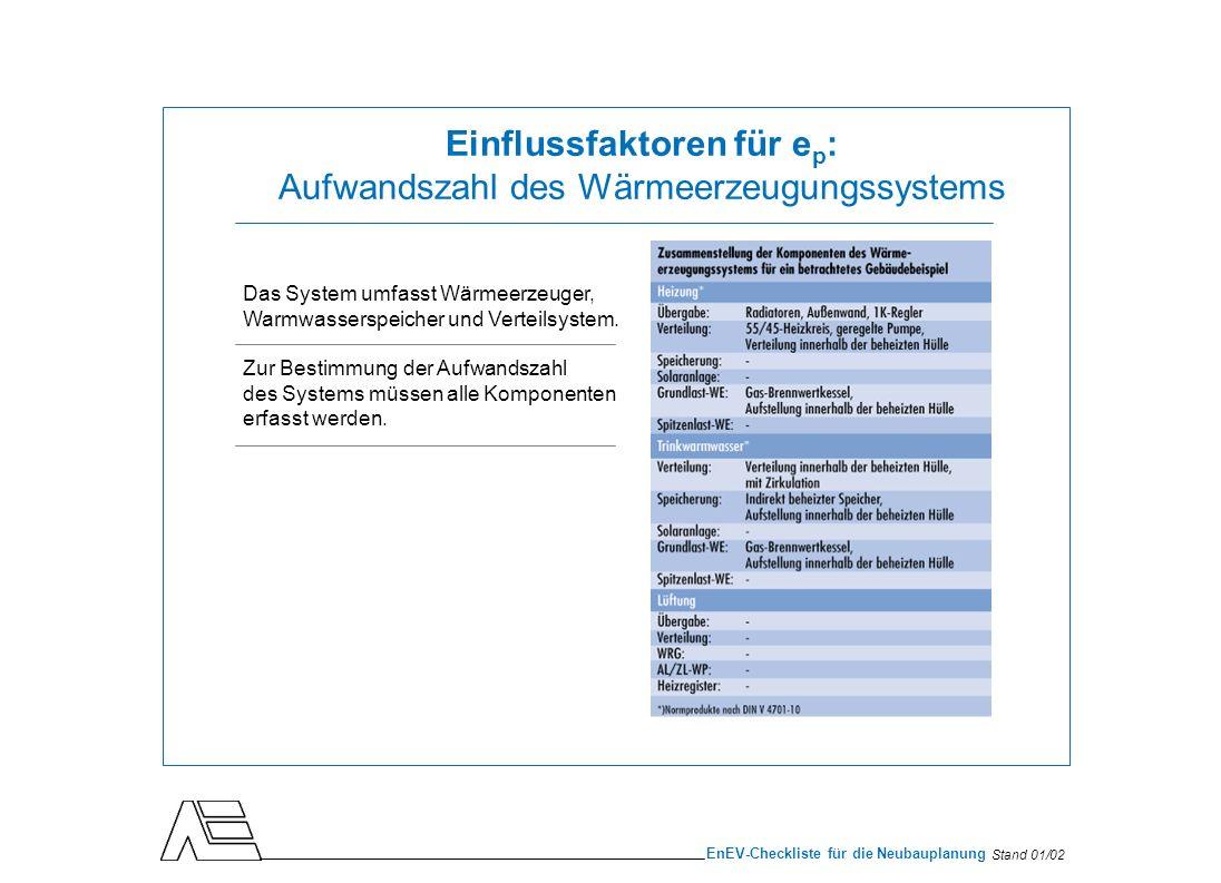 Stand 01/02 EnEV-Checkliste für die Neubauplanung Einflussfaktoren für e p : Aufwandszahl des Wärmeerzeugungssystems Das System umfasst Wärmeerzeuger,