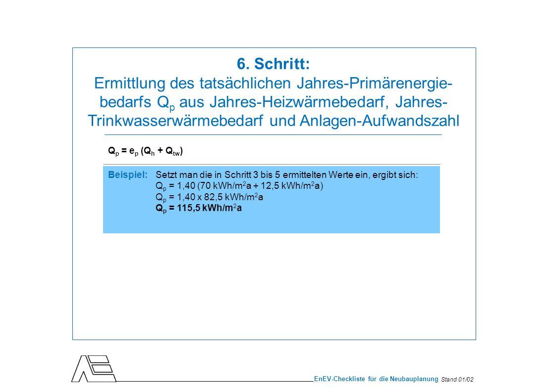 Stand 01/02 EnEV-Checkliste für die Neubauplanung Q p = e p (Q h + Q tw ) Beispiel:Setzt man die in Schritt 3 bis 5 ermittelten Werte ein, ergibt sich