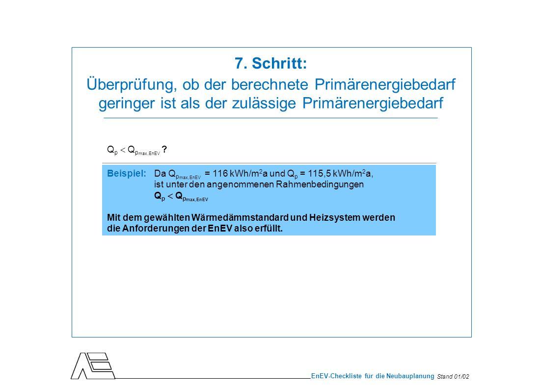 Stand 01/02 EnEV-Checkliste für die Neubauplanung Q p Q p max,EnEV ? Beispiel: Da Q p max,EnEV = 116 kWh/m 2 a und Q p = 115,5 kWh/m 2 a, ist unter de