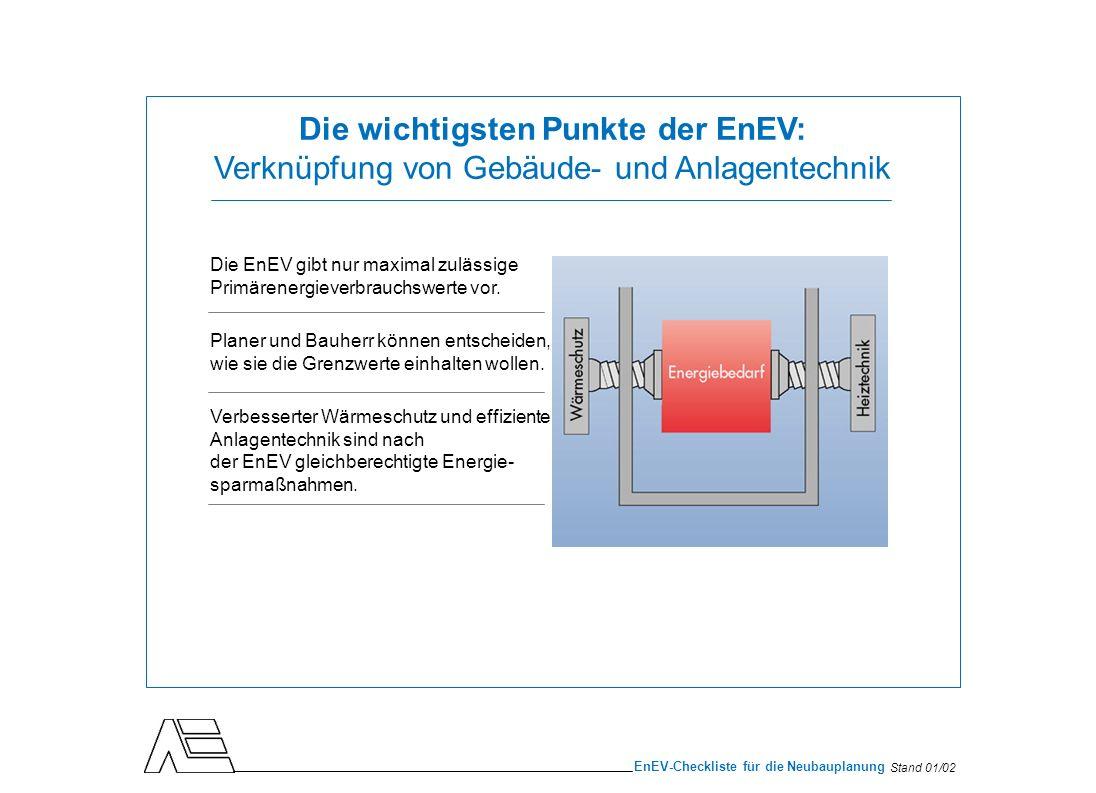 Stand 01/02 EnEV-Checkliste für die Neubauplanung Die wichtigsten Punkte der EnEV: Vorschriften für den Gebäudebestand Die Nachrüstverpflichtungen der EnEV ( § 9, 10 ) gelten für Gebäude mit mehr als 2 Wohnungen generell, bei Einfamilienhäusern ( max.