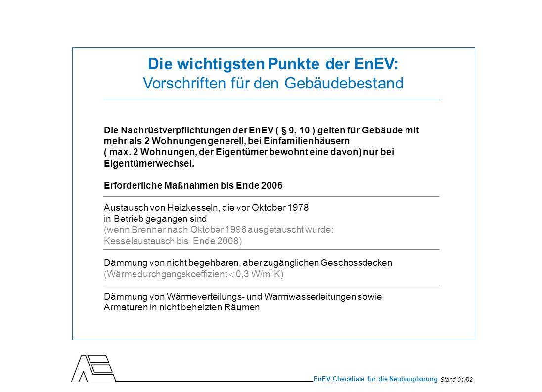 Stand 01/02 EnEV-Checkliste für die Neubauplanung Die wichtigsten Punkte der EnEV: Vorschriften für den Gebäudebestand Die Nachrüstverpflichtungen der