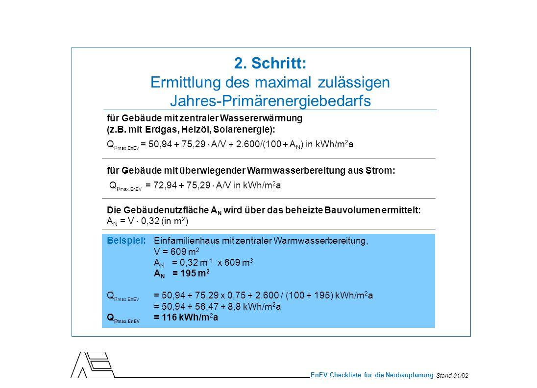 Stand 01/02 EnEV-Checkliste für die Neubauplanung Berechnung nach DIN V 4108-6 Zwei Berechnungsverfahren: detailliertes Monats-Bilanzverfahren einfacheres Heizperioden-Bilanzverfahren Beispiel:Einfamilienhaus, Gebäudenutzfläche A N = 195 m 2 Zur vereinfachten Betrachtung werden die Anforderungen der WSchV 95 für Niedrigenergiehäuser herangezogen: Q h = 70 kWh/m 2 a 3.