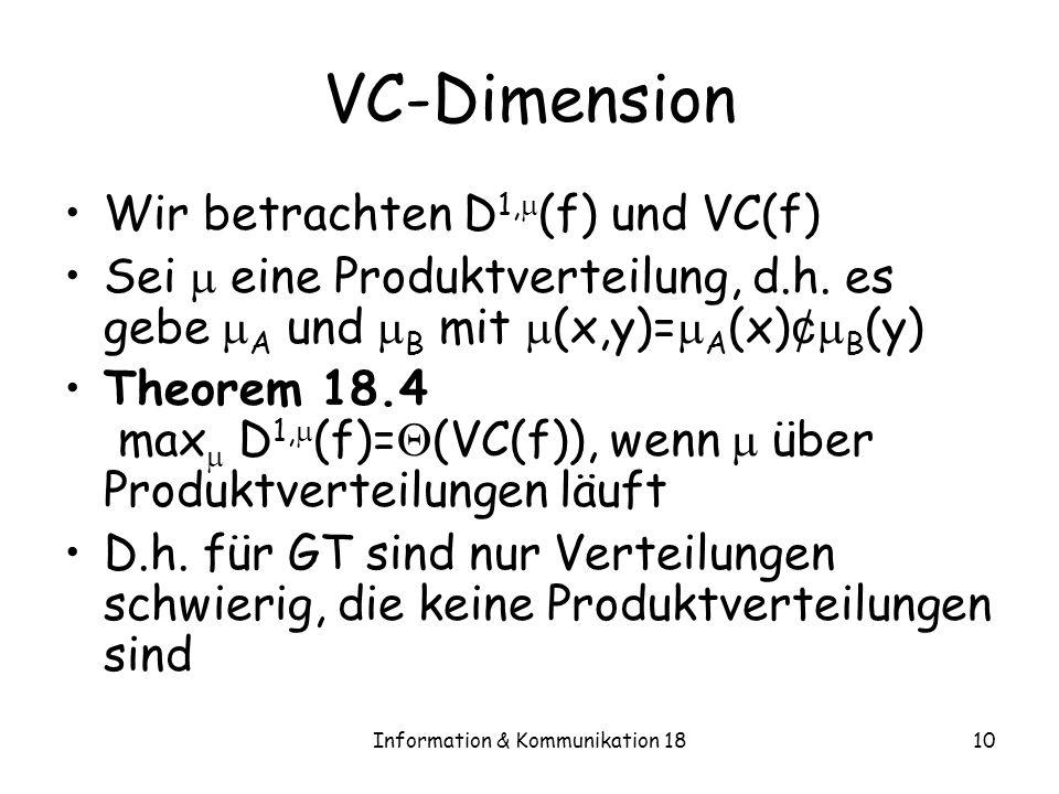 Information & Kommunikation 1810 VC-Dimension Wir betrachten D 1, (f) und VC(f) Sei eine Produktverteilung, d.h. es gebe A und B mit (x,y)= A (x) ¢ B