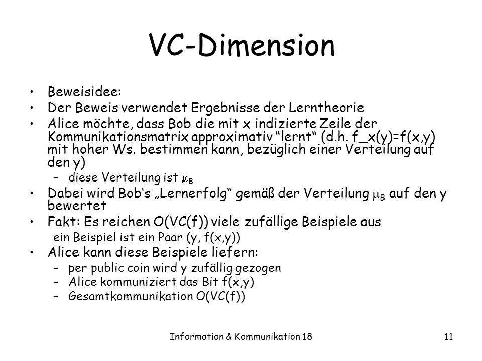 Information & Kommunikation 1811 VC-Dimension Beweisidee: Der Beweis verwendet Ergebnisse der Lerntheorie Alice möchte, dass Bob die mit x indizierte