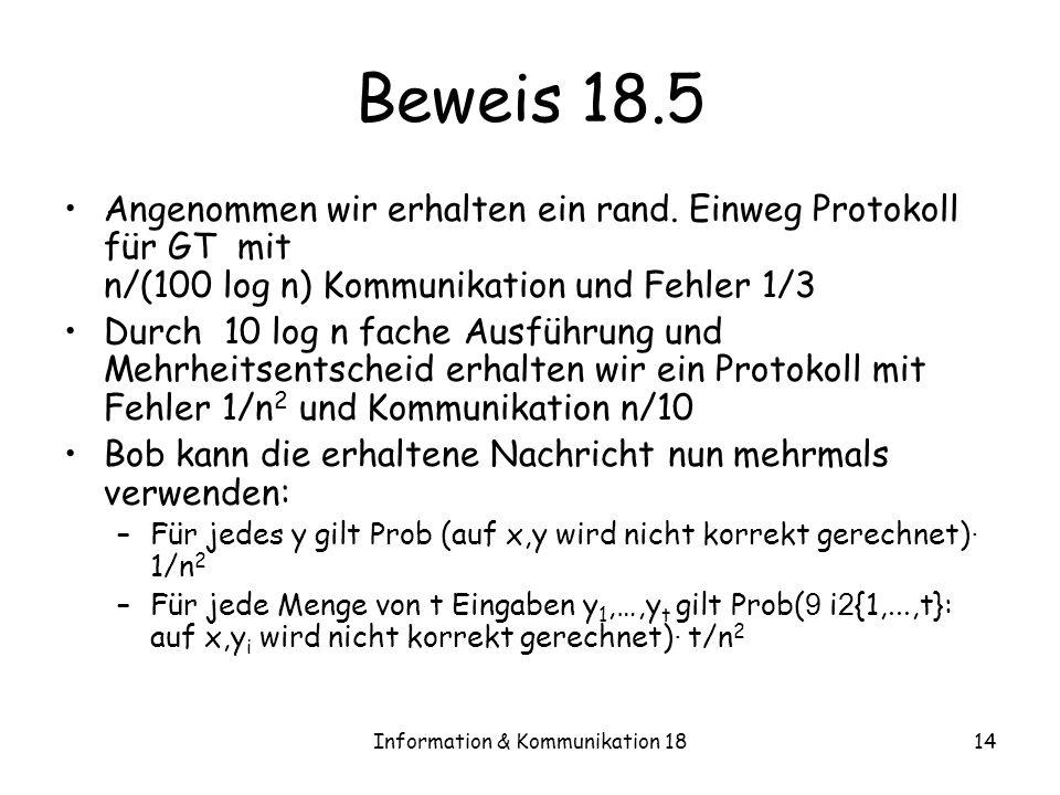 Information & Kommunikation 1814 Beweis 18.5 Angenommen wir erhalten ein rand. Einweg Protokoll für GT mit n/(100 log n) Kommunikation und Fehler 1/3