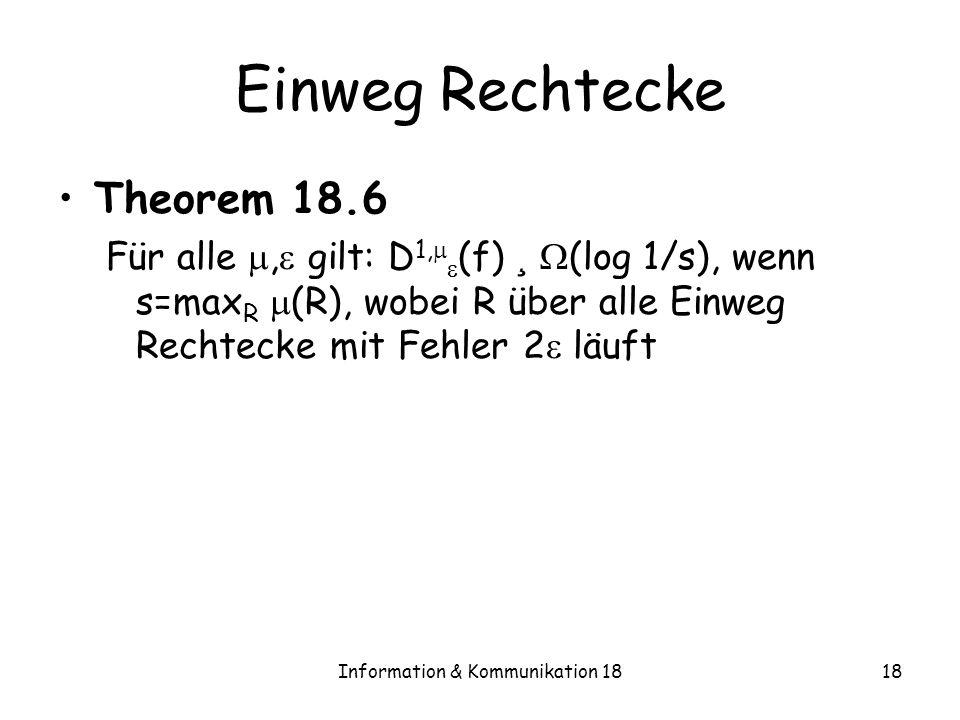 Information & Kommunikation 1818 Einweg Rechtecke Theorem 18.6 Für alle, gilt: D 1, (f) ¸ (log 1/s), wenn s=max R (R), wobei R über alle Einweg Rechte