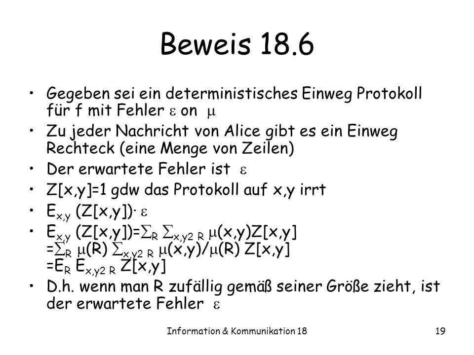 Information & Kommunikation 1819 Beweis 18.6 Gegeben sei ein deterministisches Einweg Protokoll für f mit Fehler on Zu jeder Nachricht von Alice gibt