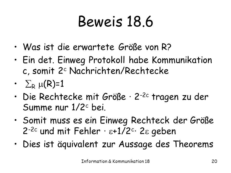 Information & Kommunikation 1820 Beweis 18.6 Was ist die erwartete Größe von R? Ein det. Einweg Protokoll habe Kommunikation c, somit 2 c Nachrichten/