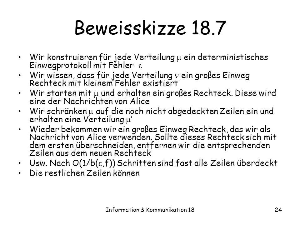 Information & Kommunikation 1824 Beweisskizze 18.7 Wir konstruieren für jede Verteilung ein deterministisches Einwegprotokoll mit Fehler Wir wissen, d