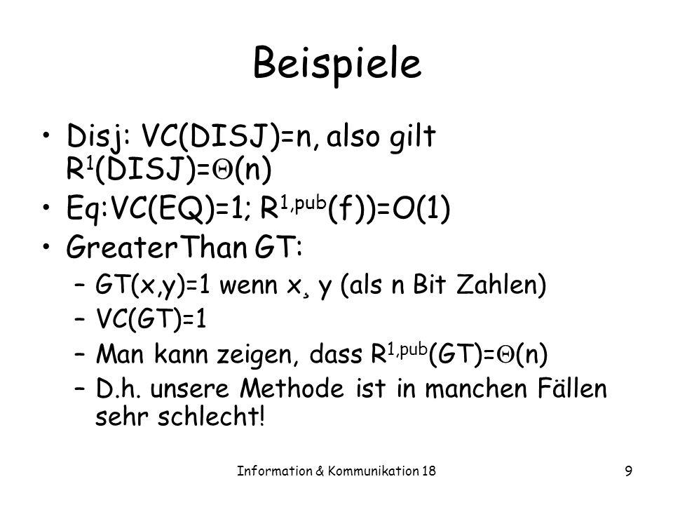 Information & Kommunikation 189 Beispiele Disj: VC(DISJ)=n, also gilt R 1 (DISJ)= (n) Eq:VC(EQ)=1; R 1,pub (f))=O(1) GreaterThan GT: –GT(x,y)=1 wenn x