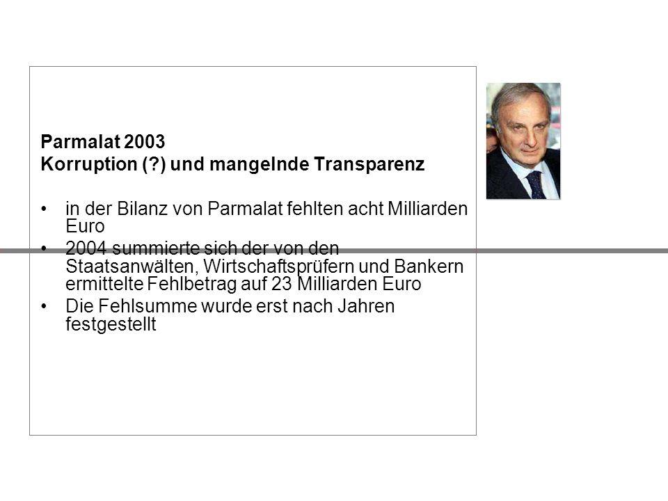 Parmalat 2003 Korruption (?) und mangelnde Transparenz in der Bilanz von Parmalat fehlten acht Milliarden Euro 2004 summierte sich der von den Staatsa
