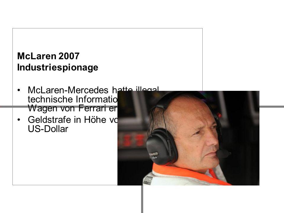 McLaren 2007 Industriespionage McLaren-Mercedes hatte illegal technische Informationen über die Wagen von Ferrari erhalten Geldstrafe in Höhe von 100