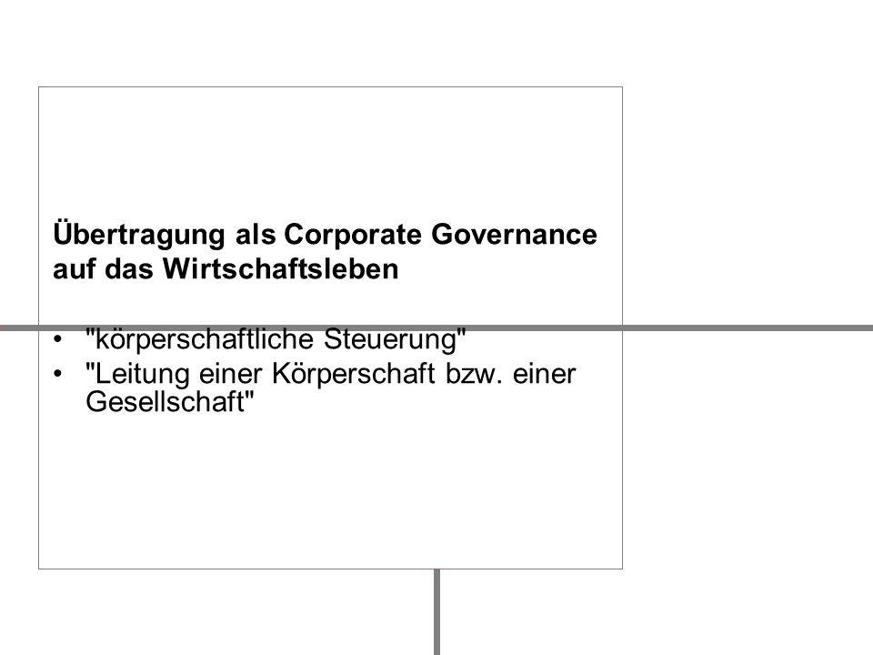 Übertragung als Corporate Governance auf das Wirtschaftsleben