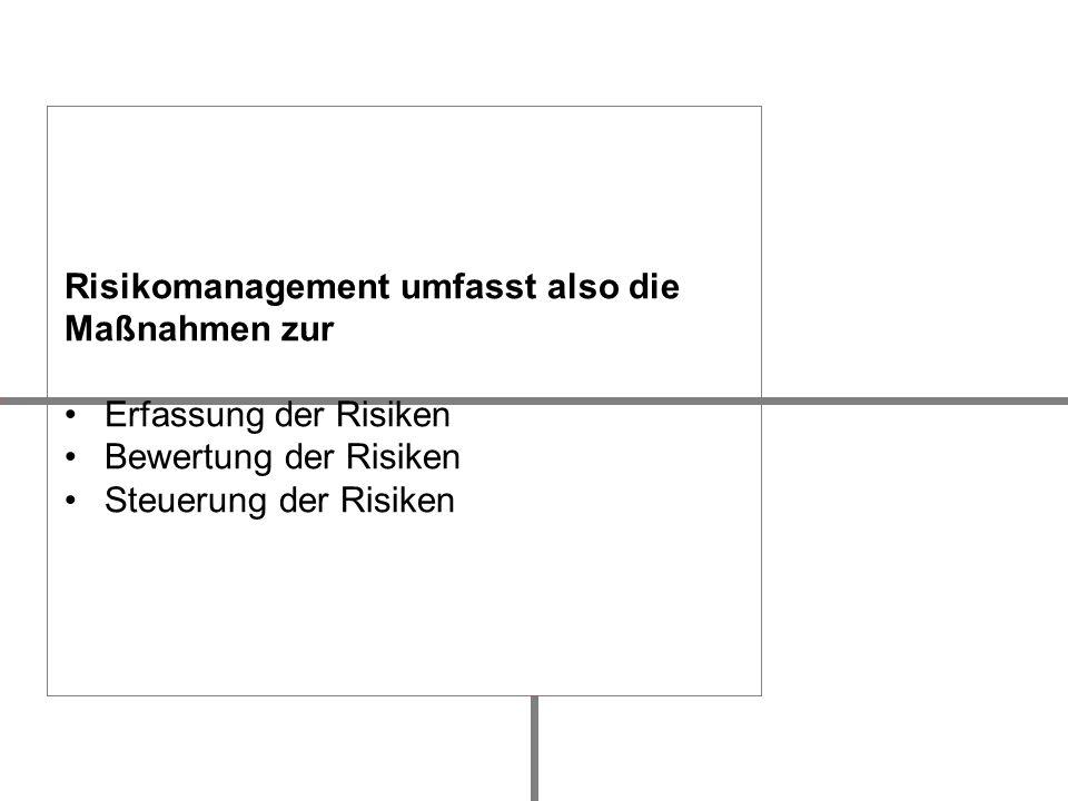 Risikomanagement umfasst also die Maßnahmen zur Erfassung der Risiken Bewertung der Risiken Steuerung der Risiken