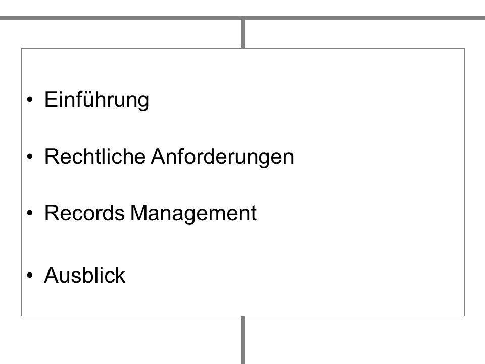 Einführung Rechtliche Anforderungen Records Management Ausblick