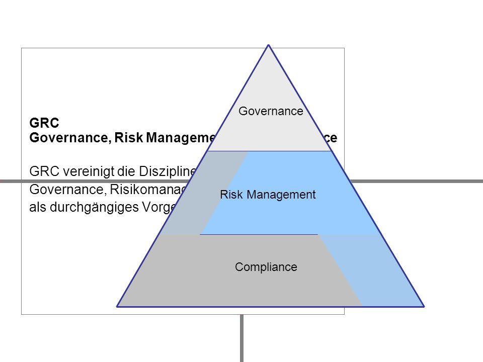 GRC Governance, Risk Management und Compliance GRC vereinigt die Disziplinen Corporate Governance, Risikomanagement und Compliance als durchgängiges V