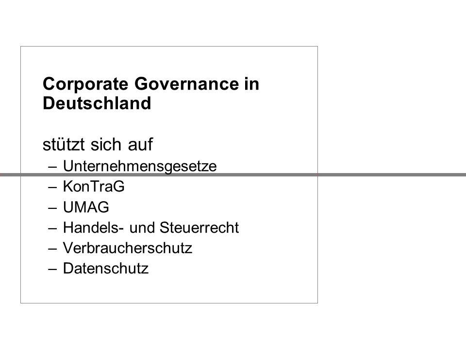 Corporate Governance in Deutschland stützt sich auf –Unternehmensgesetze –KonTraG –UMAG –Handels- und Steuerrecht –Verbraucherschutz –Datenschutz
