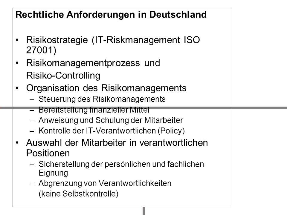 Rechtliche Anforderungen in Deutschland Risikostrategie (IT-Riskmanagement ISO 27001) Risikomanagementprozess und Risiko-Controlling Organisation des