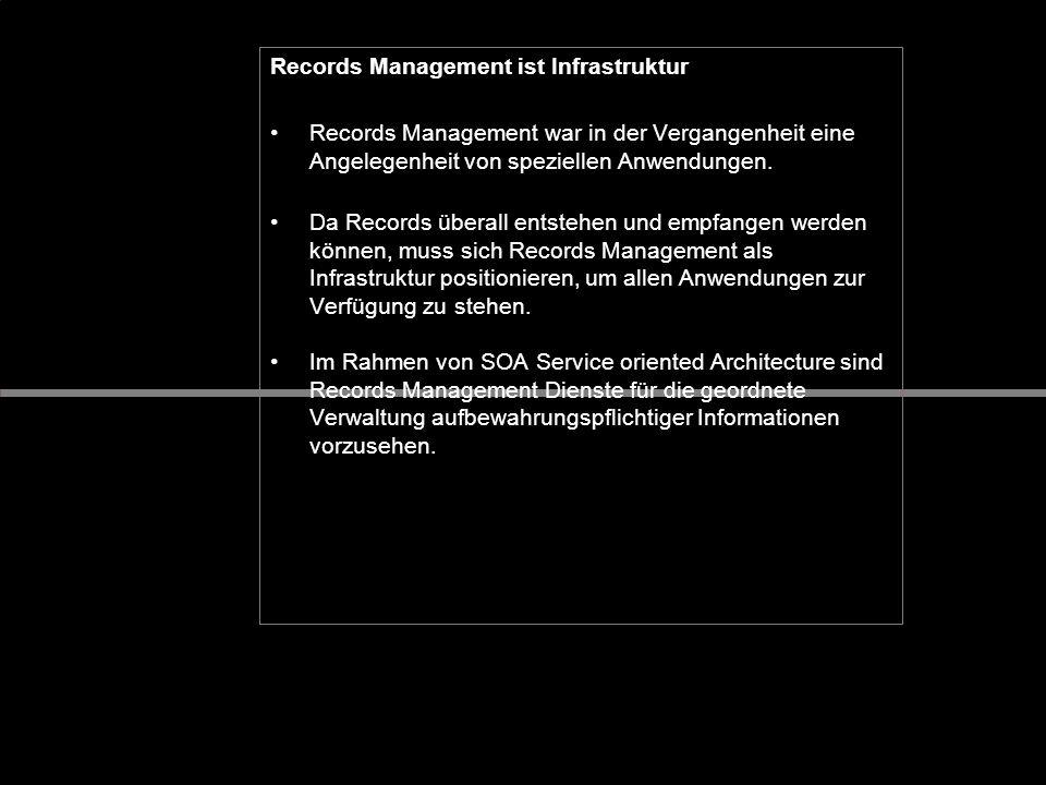 Records Management ist Infrastruktur Records Management war in der Vergangenheit eine Angelegenheit von speziellen Anwendungen. Da Records überall ent