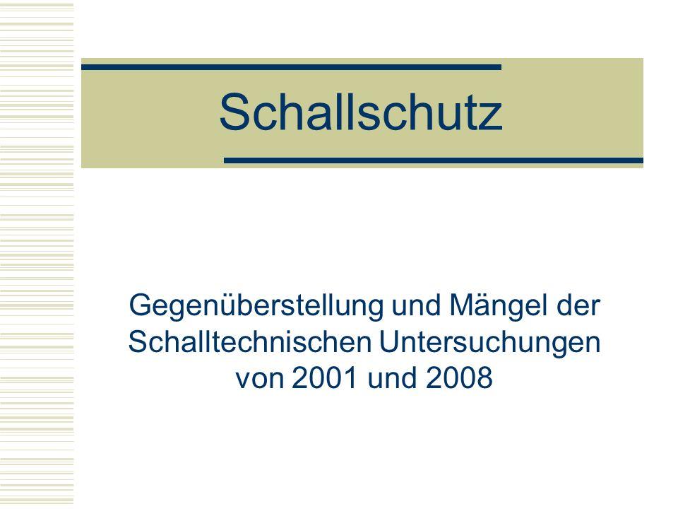 Schallschutz Gegenüberstellung und Mängel der Schalltechnischen Untersuchungen von 2001 und 2008