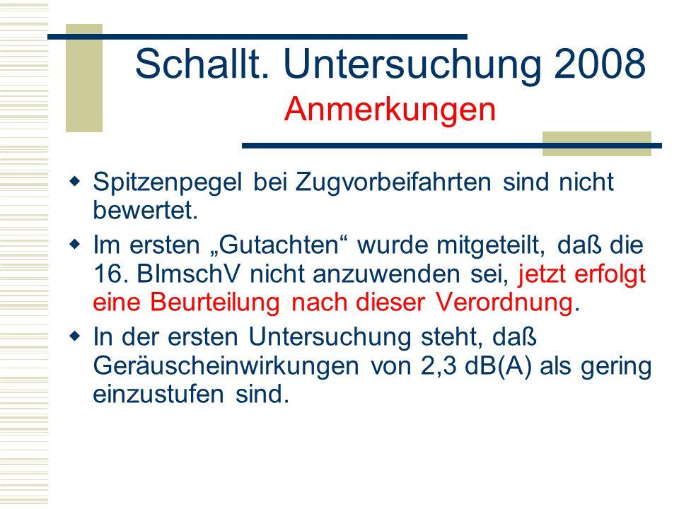 Schallt. Untersuchung 2008 Anmerkungen Spitzenpegel bei Zugvorbeifahrten sind nicht bewertet.