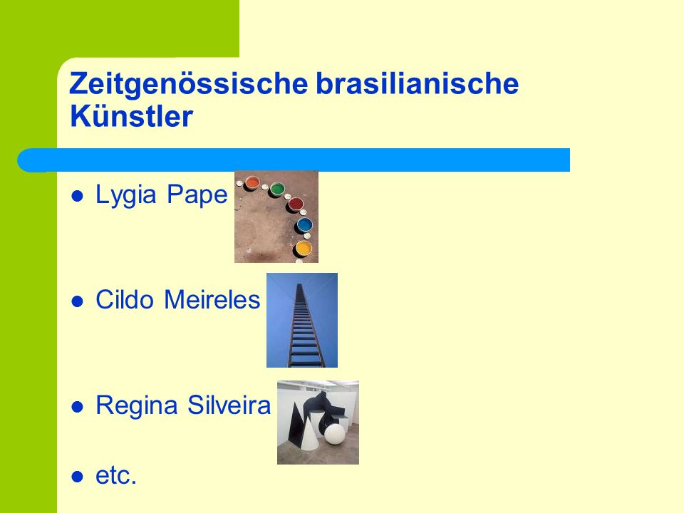 Zeitgenössische brasilianische Künstler Lygia Pape Cildo Meireles Regina Silveira etc.
