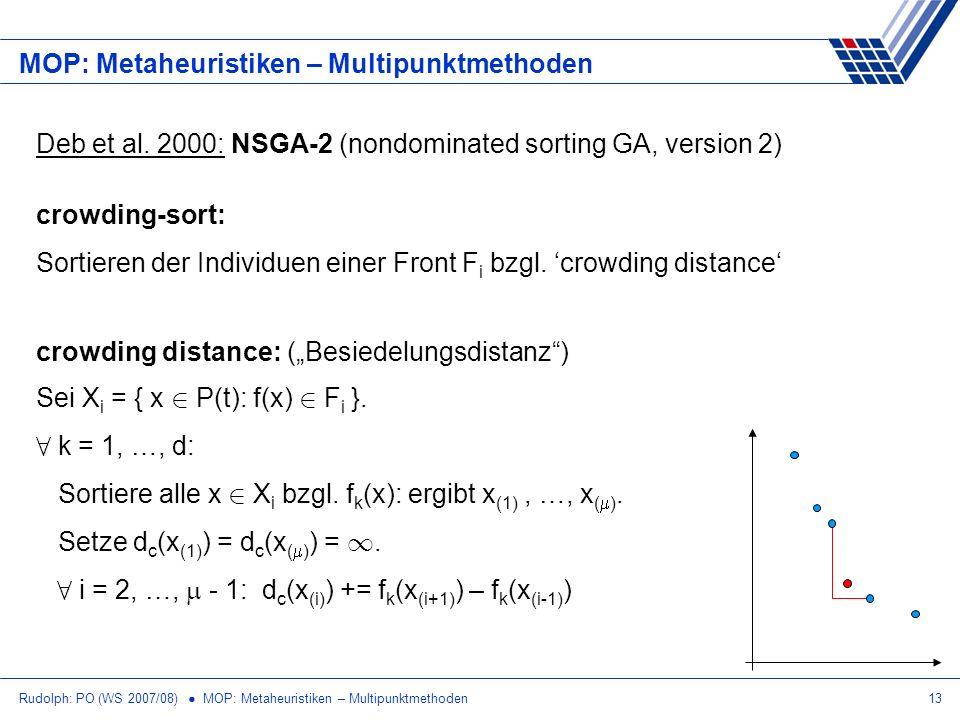 Rudolph: PO (WS 2007/08) MOP: Metaheuristiken – Multipunktmethoden13 MOP: Metaheuristiken – Multipunktmethoden Deb et al. 2000: NSGA-2 (nondominated s