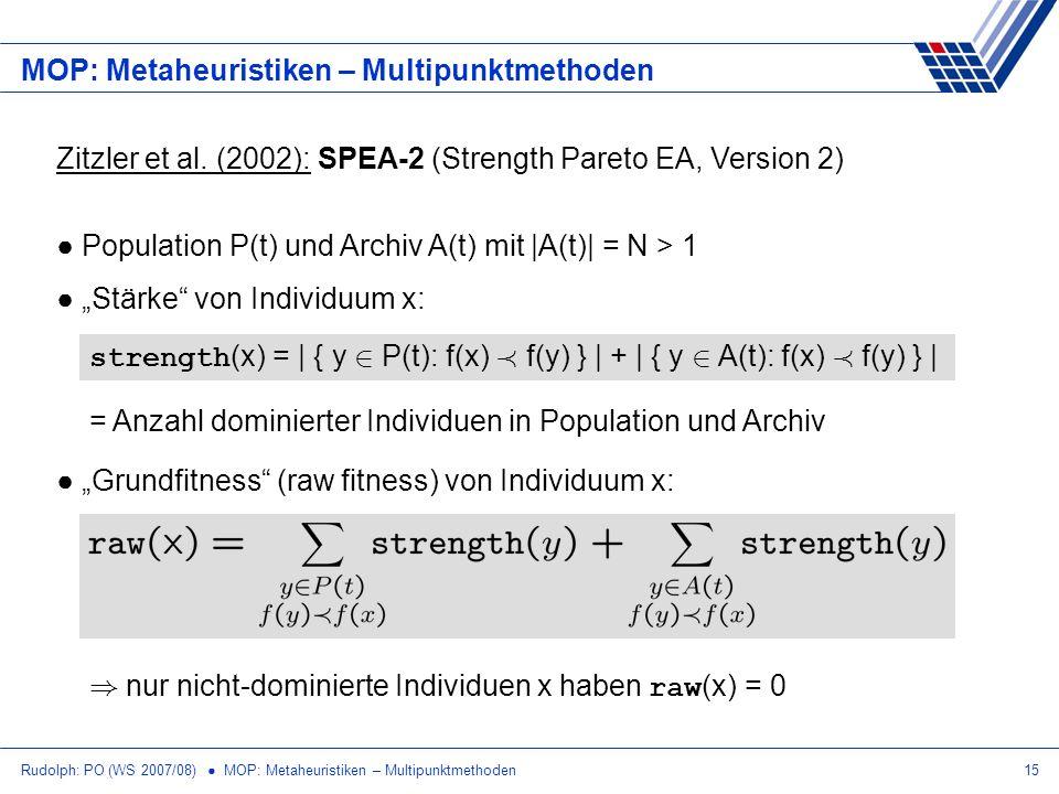 Rudolph: PO (WS 2007/08) MOP: Metaheuristiken – Multipunktmethoden15 MOP: Metaheuristiken – Multipunktmethoden Zitzler et al. (2002): SPEA-2 (Strength