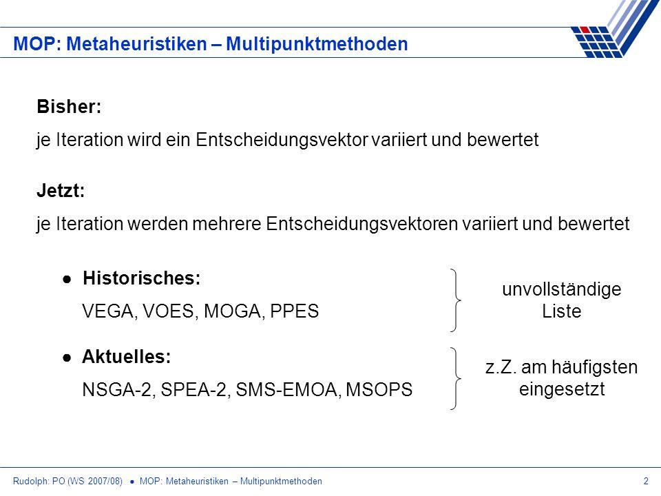 Rudolph: PO (WS 2007/08) MOP: Metaheuristiken – Multipunktmethoden2 MOP: Metaheuristiken – Multipunktmethoden Historisches: VEGA, VOES, MOGA, PPES Akt