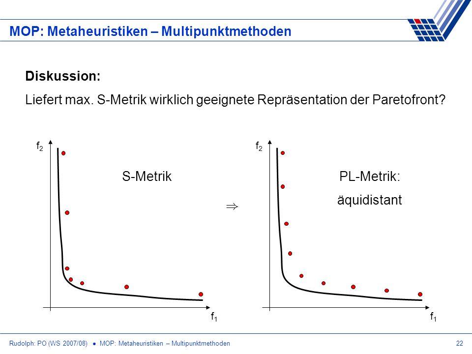 Rudolph: PO (WS 2007/08) MOP: Metaheuristiken – Multipunktmethoden22 MOP: Metaheuristiken – Multipunktmethoden Diskussion: Liefert max. S-Metrik wirkl
