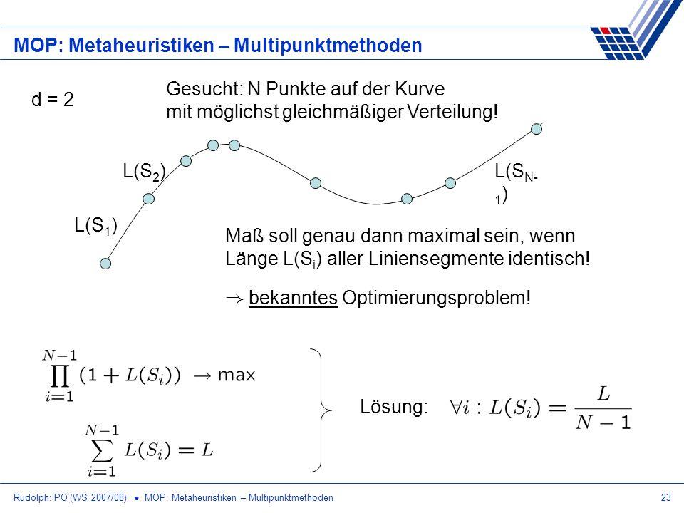 Rudolph: PO (WS 2007/08) MOP: Metaheuristiken – Multipunktmethoden23 MOP: Metaheuristiken – Multipunktmethoden d = 2 Gesucht: N Punkte auf der Kurve m