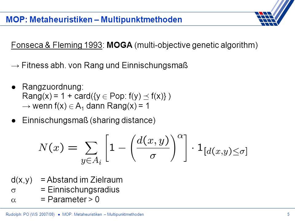 Rudolph: PO (WS 2007/08) MOP: Metaheuristiken – Multipunktmethoden5 MOP: Metaheuristiken – Multipunktmethoden Fitness abh. von Rang und Einnischungsma