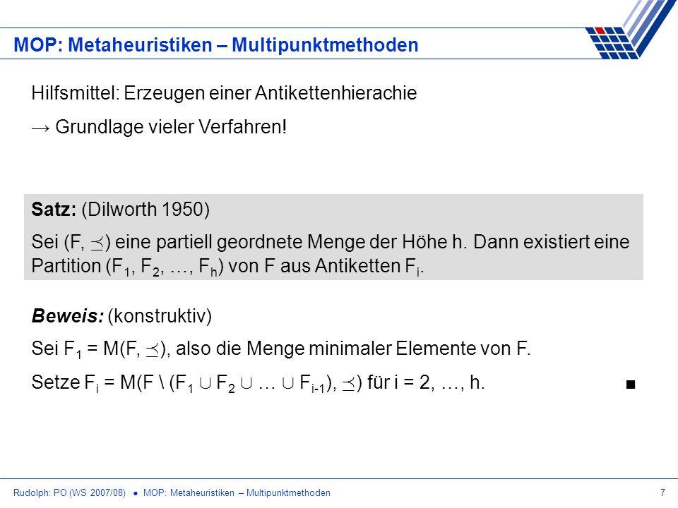 Rudolph: PO (WS 2007/08) MOP: Metaheuristiken – Multipunktmethoden7 MOP: Metaheuristiken – Multipunktmethoden Hilfsmittel: Erzeugen einer Antikettenhi