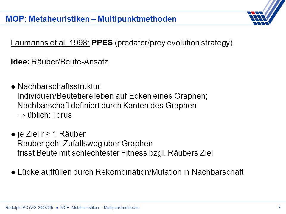 Rudolph: PO (WS 2007/08) MOP: Metaheuristiken – Multipunktmethoden9 MOP: Metaheuristiken – Multipunktmethoden Laumanns et al. 1998: PPES (predator/pre
