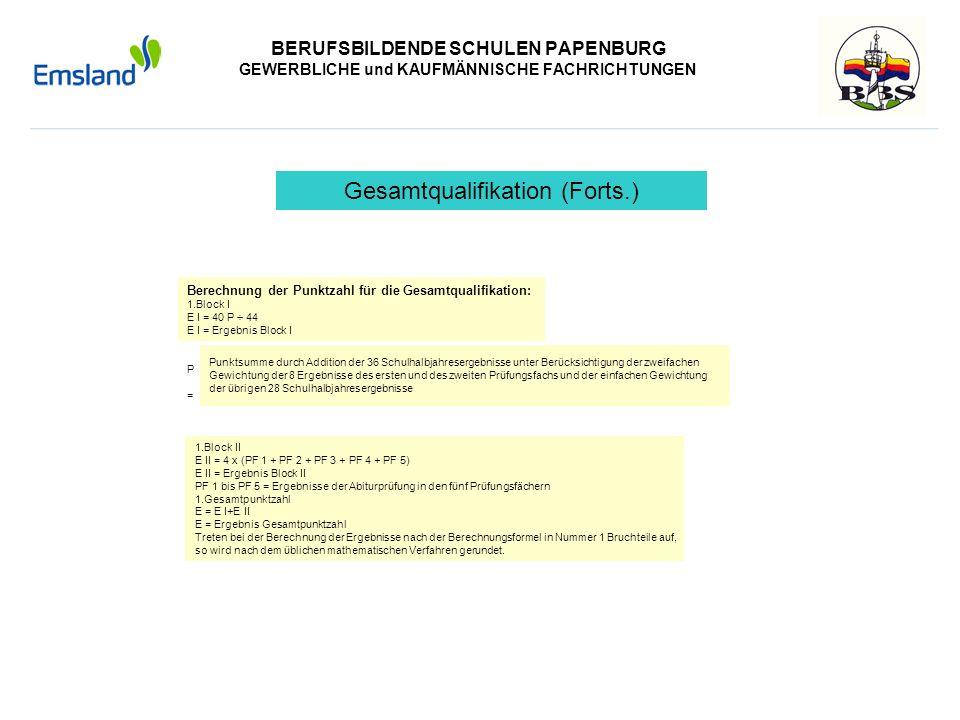 BERUFSBILDENDE SCHULEN PAPENBURG GEWERBLICHE und KAUFMÄNNISCHE FACHRICHTUNGEN Berechnung der Punktzahl für die Gesamtqualifikation: 1.Block I E I = 40