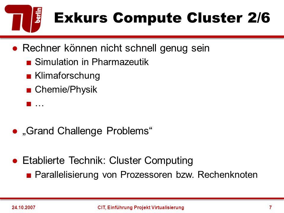 Exkurs Compute Cluster 2/6 Rechner können nicht schnell genug sein Simulation in Pharmazeutik Klimaforschung Chemie/Physik … Grand Challenge Problems Etablierte Technik: Cluster Computing Parallelisierung von Prozessoren bzw.