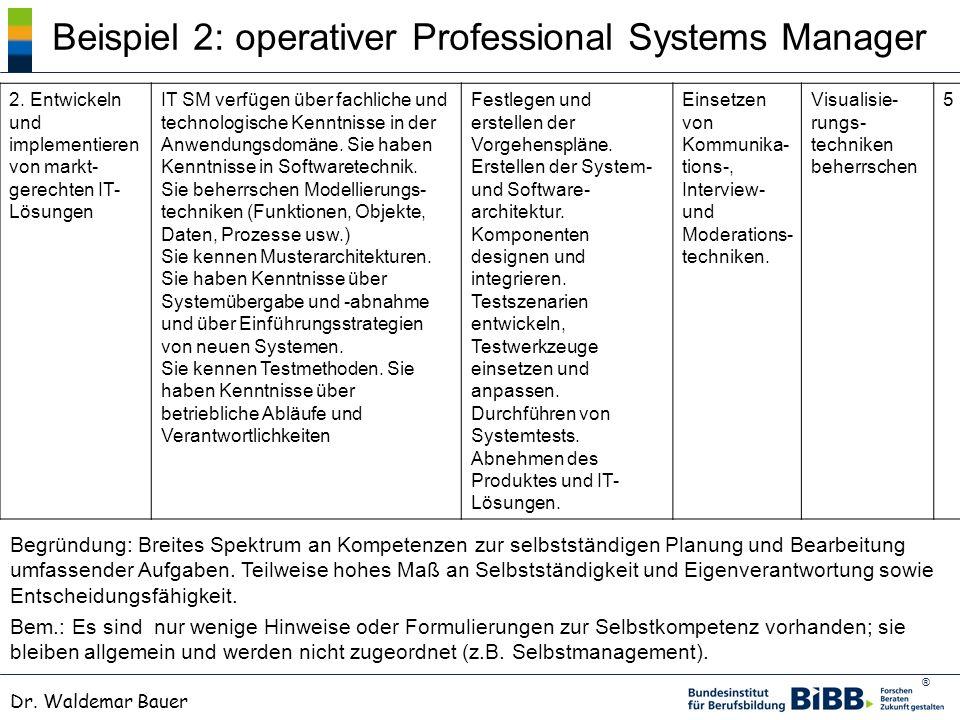 ® Dr. Waldemar Bauer Beispiel 2: operativer Professional Systems Manager 2. Entwickeln und implementieren von markt- gerechten IT- Lösungen IT SM verf