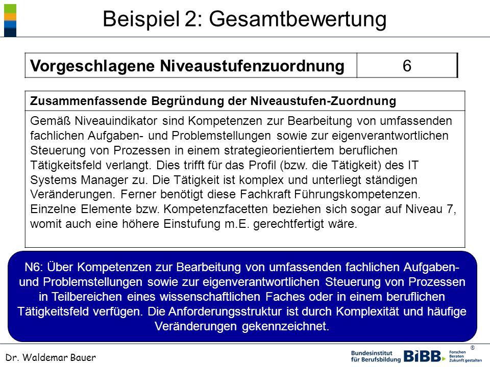 ® Dr. Waldemar Bauer Beispiel 2: Gesamtbewertung Zusammenfassende Begründung der Niveaustufen-Zuordnung Gemäß Niveauindikator sind Kompetenzen zur Bea