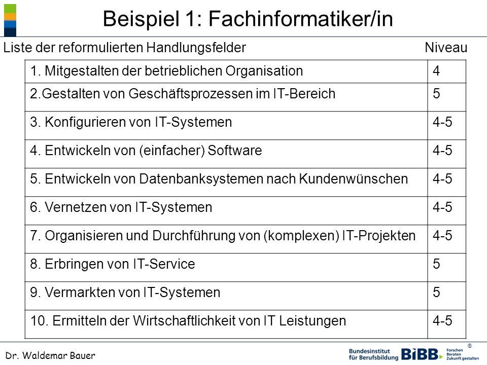 ® Dr. Waldemar Bauer Beispiel 1: Fachinformatiker/in 1. Mitgestalten der betrieblichen Organisation4 2.Gestalten von Geschäftsprozessen im IT-Bereich5