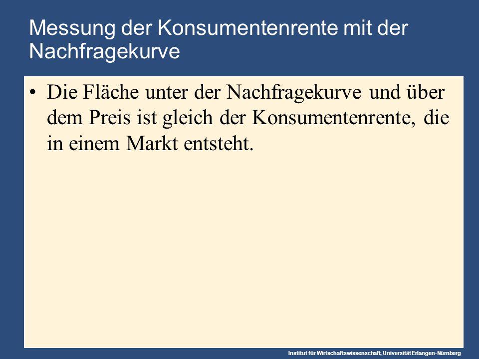 Institut für Wirtschaftswissenschaft, Universität Erlangen-Nürnberg Messung der Konsumentenrente mit der Nachfragekurve Die Fläche unter der Nachfragekurve und über dem Preis ist gleich der Konsumentenrente, die in einem Markt entsteht.