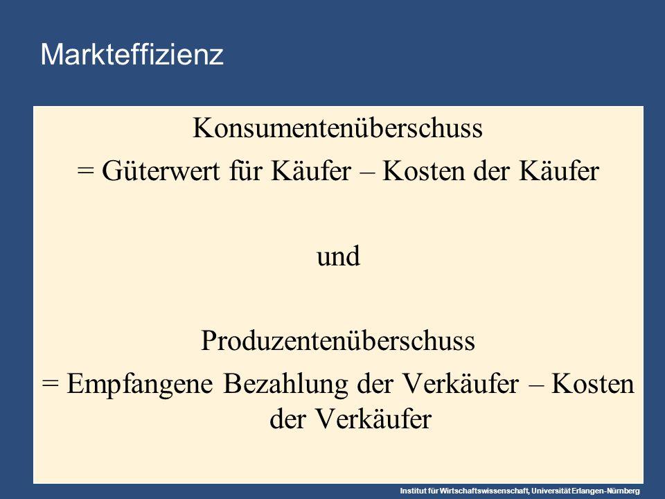 Institut für Wirtschaftswissenschaft, Universität Erlangen-Nürnberg Markteffizienz Konsumentenüberschuss = Güterwert für Käufer – Kosten der Käufer und Produzentenüberschuss = Empfangene Bezahlung der Verkäufer – Kosten der Verkäufer