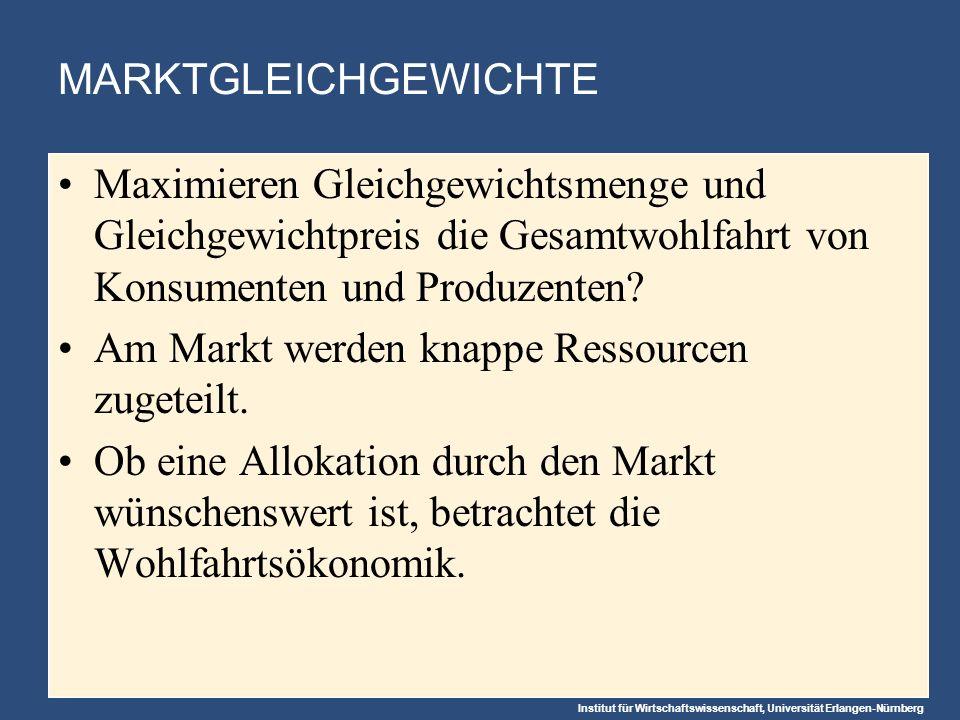 Institut für Wirtschaftswissenschaft, Universität Erlangen-Nürnberg MARKTGLEICHGEWICHTE Maximieren Gleichgewichtsmenge und Gleichgewichtpreis die Gesamtwohlfahrt von Konsumenten und Produzenten.